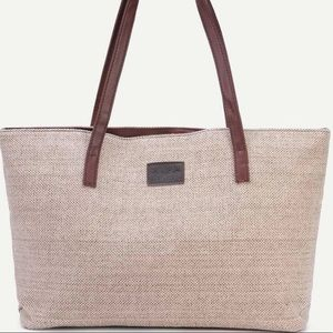 Handbags - Light khaki zip closure linen tote bag